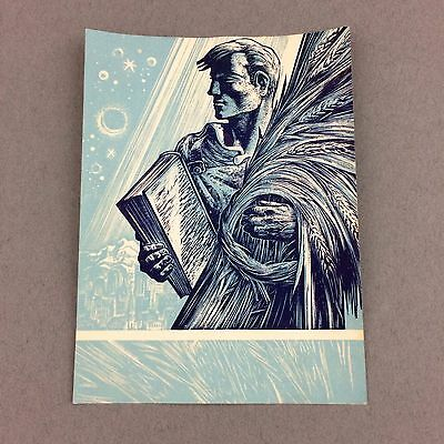 Wonderful 3x4 Lynd Ward Bookplates Man Holding Book Of Law And Wheat Blue Kent