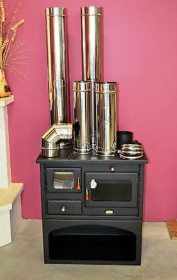 10kW Wood Burning Cooker Prity Cast Iron Top Log Burner options for flue pipes