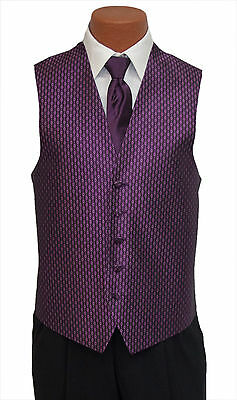X-Large Mens Plum Rapture Fullback Wedding Prom Party Formal Tuxedo Vest and Tie