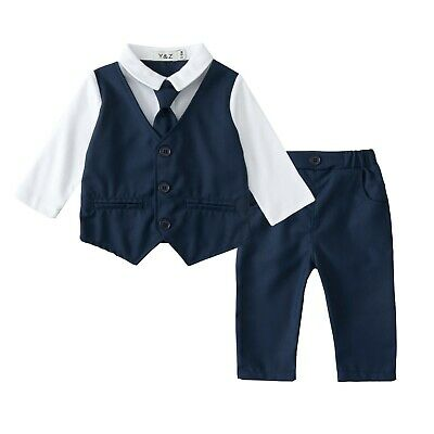 Baby Boy Christening Formal Wedding Tuxedo 2pc Blue Suit in Matching Cravat