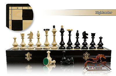 Slender HIGHLANDER Large 49cm /19.3in Wooden Chess Set