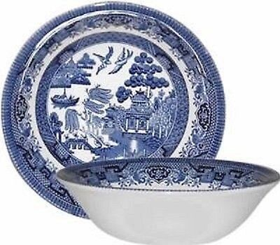 Set Of 6 Cereal Bowl 15.5 cm New Churchill Blue Willow Plate Serving Bowls New