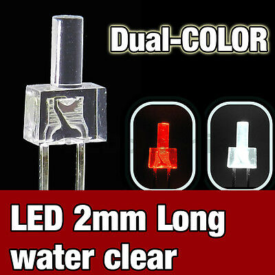 737/25# LED 2mm dual color red and  White  -  25pcs - water clear