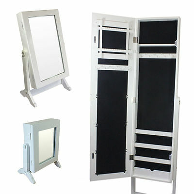 Free Stand Jewellery Cabinet Cupboard Organiser Mirror Storage Tabletop 3 Sizes