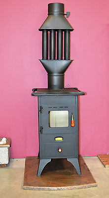 Wood Burning Stove Prity Mini 5 kW with a Cast Iron Top Fireplace Option Granite