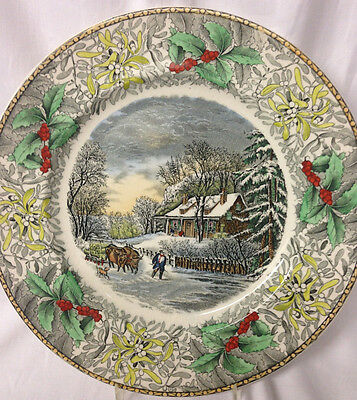 """Adams China Winter Scenes The Snow Storm Dinner Plate 10 1/2"""" Holly Christmas"""