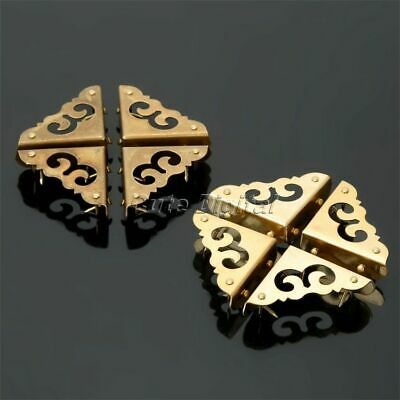 4Pcs Decorative Antique Brass Furniture Jewelry Box Corners Cover Protector 1.2""