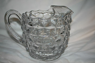 Vintage American Fostoria Cube Cut Glass  Pitcher 1940's