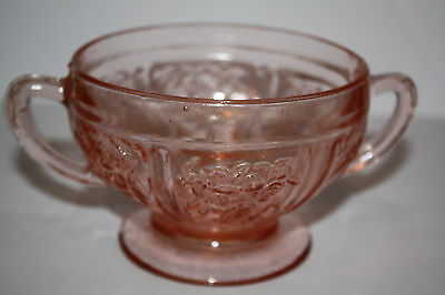 Pink Depression Glass Open Sugar Bowl with Handles