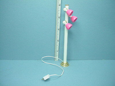 Dollhouse Miniature Pole Light LED Lights Pink Shades #652 1/12th Scale REDUCED