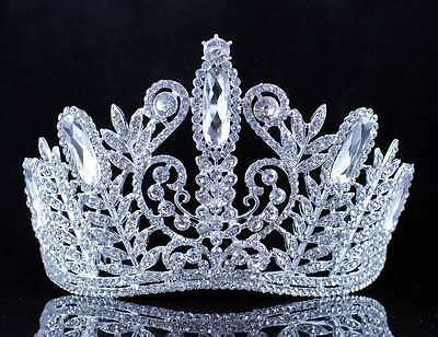 Exquisite Clear Austrian Crystal Rhinestone Tiara W/ Hair Combs Crown Prom T1891