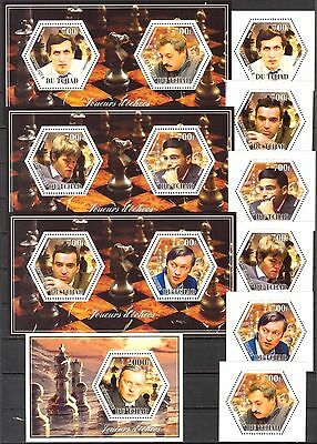 Chad 2014 Chess Famous Players set of 6 + 4 S/S MNH**