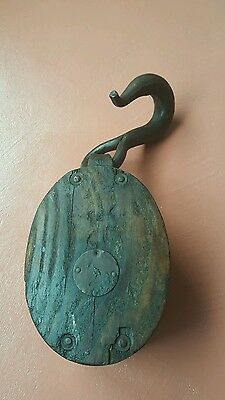 "LARGE 16.5"" Antique Wood And Metal Nautical Pulley"