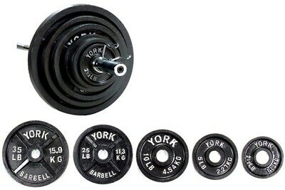 8ba38a5ccc6 YORK BARBELL 300 lb G-2 Dual Grip Olympic Weight Set With Bar ...