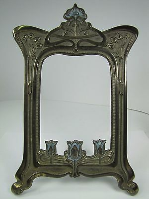 Antique Art Nouveau Frame Tulips Flowers Cast Iron Brass Ornate Picture Mirror