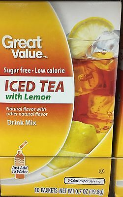 6 Boxes Great Value Iced Tea with Lemon ~ On The Go ~ Drink Mix Water Enhancer