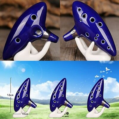 12 Hole Ocarina Ceramic Alto C Legend of Zelda Ocarina Flute Blue Instrument x