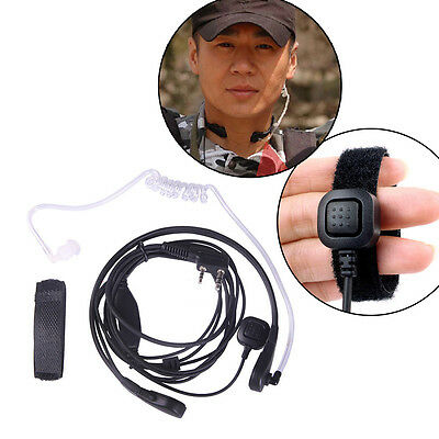 2Pin Covert Acoustic Tube Earpiece Throat Mic Headset for Kenwood Baofeng UV-5R