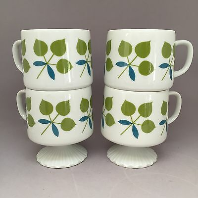 Footed China Mug Set Of Four Green And Blue Floral Made In Japan