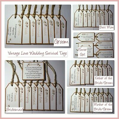 Handmade VINTAGE LOVE HEART WEDDING SURVIVAL TAG SET; 6 versions, 60 colours