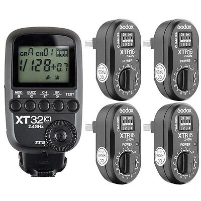 Godox XT32C 2.4G 1/8000s Flash Trigger for Canon+ 4pcs XTR-16 for AD180 AD360II