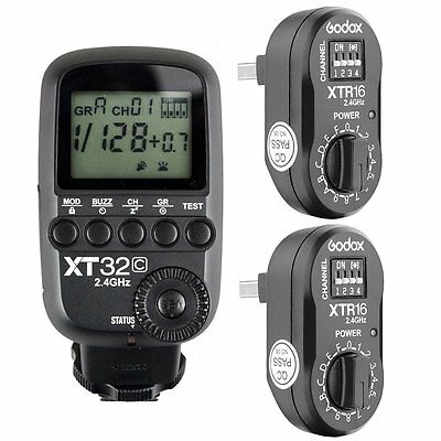 Godox XT32C 2.4G 1/8000s Flash Trigger for Canon+ 2pcs XTR-16 for AD180 AD360II