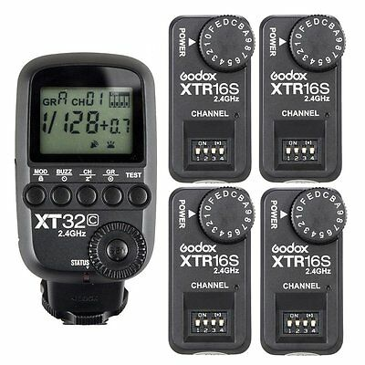 Godox 2.4G 1/8000s Flash Trigger XT32C + 4pcs XTR-16S Receivers for V860 II V850