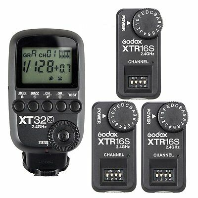 Godox 2.4G 1/8000s Flash Trigger XT32C + 3pcs XTR-16S Receivers for V860 II V850