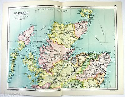 Original 1909 Map of The Northern Section of Scotland by John Bartholomew