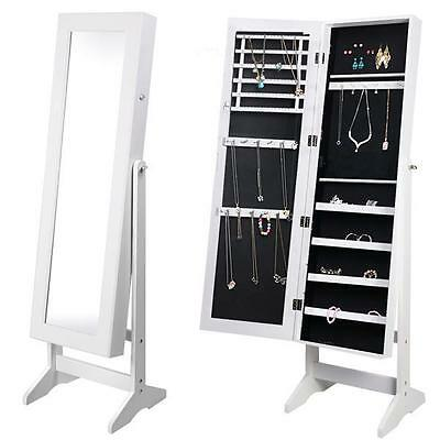 White Mirror Jewellery Cabinet Makeup Storage Jewelry Organiser Box Tall Stand