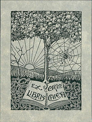 'Carlo Chiesa' by D. Chiesa. Spider Web  Sunrise Tree Bookplate    (JC.95)