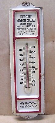 1951 Deposit Motor Sales NY Chrysler Plymouth Car Dealer Thermometer Sign tin em