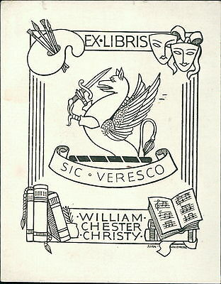 'William Chester Christy'  Bookplate    (JC.106)
