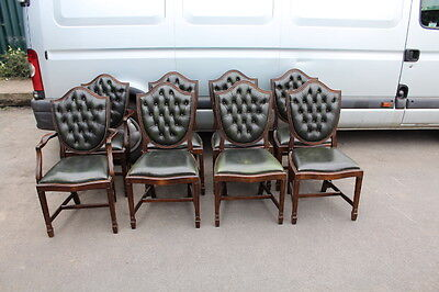 Set 8 Green Leather Buttoned Back Dining Chairs pop out seats. 1930's 6+2