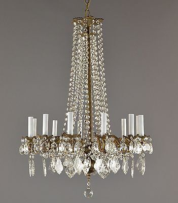 Bronze French Wired Crystal Chandelier LARGE c1890 Vintage Antique Ceiling Light