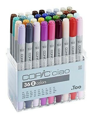 Copic Ciao Marker - 36E Pen Set - Twin Tipped - 36 Unique Colours  *brand New*