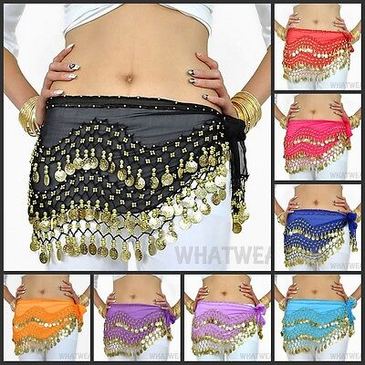 Belly Dance Gypsy Hip Scarf 128 Coins Bead Double Row Belt Skirt Costume #YQ