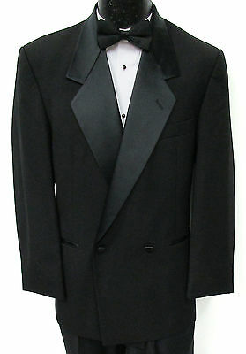 Black Double Breasted Satin Notch Lapel Tuxedo Jacket Wedding Mason Costume 48R