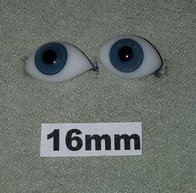 16FBLA Flat Pinched Blown Glass German French Doll Eyes Blue 16mm 16 mm 1 Pair