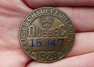 Old 1928 Quebec, Canada registered driver CHAUFFEUR BADGE pin #15347 FREE SHIP!