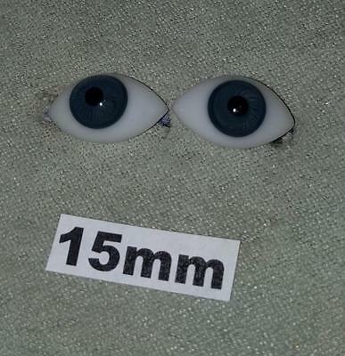 15FBLA Flat Pinched Blown Glass German French Doll Eyes Blue 15mm 15 mm 1 Pair