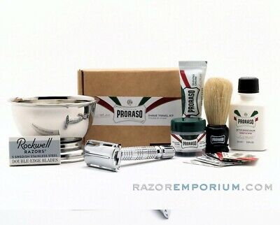 Safety Razor Beginner Shave Kit - Razor Emporium Brass TTO Razor - Try wet shave