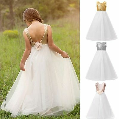 Kids Wedding Flower Girls Dress Prom Princess Girl Pageant Sequin Gown Size 4-14