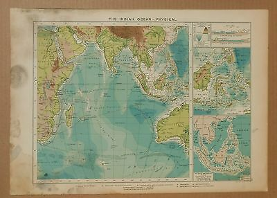1918 Cloth-Backed Map The Indian Ocean Mercantile Marine Atlas Telegraph Cables