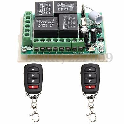 12V 4CH Channel Relay RF Wireless Remote Control Switch 2 Transmitter+Receiver