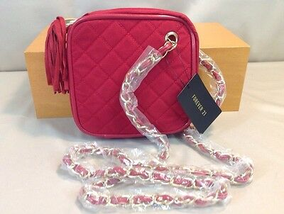 Forever 21 Crossbody Handbag Quilted Red Zippered Tassel W// Chain Strap