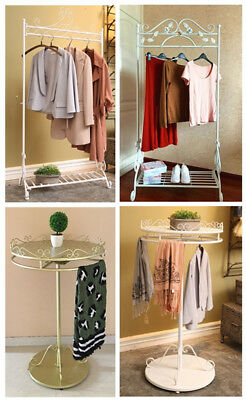 Dipamkar® Vintage White Hanging Clothes Rail Clothing Rail Coat Stand With Shelf