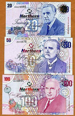 SET Ireland Northern Bank, 20;50;100 pounds, 2005-2006, P-207b-208-209 UNC