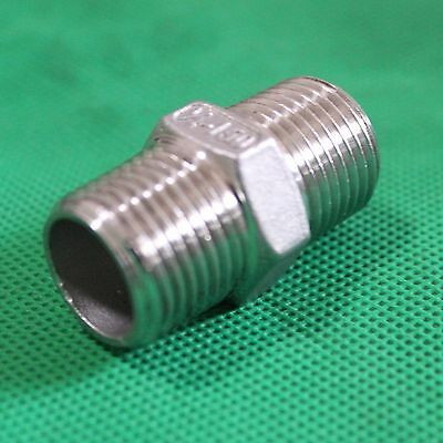 """1/2"""" Male to 1/2"""" Male Hex Nipple Stainless Steel 304 Threaded Pipe Fitting NPT"""