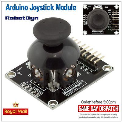 Dual Axis Spring Loaded Joystick Thumbstick with Push Switch. Arduino.  RobotDyn